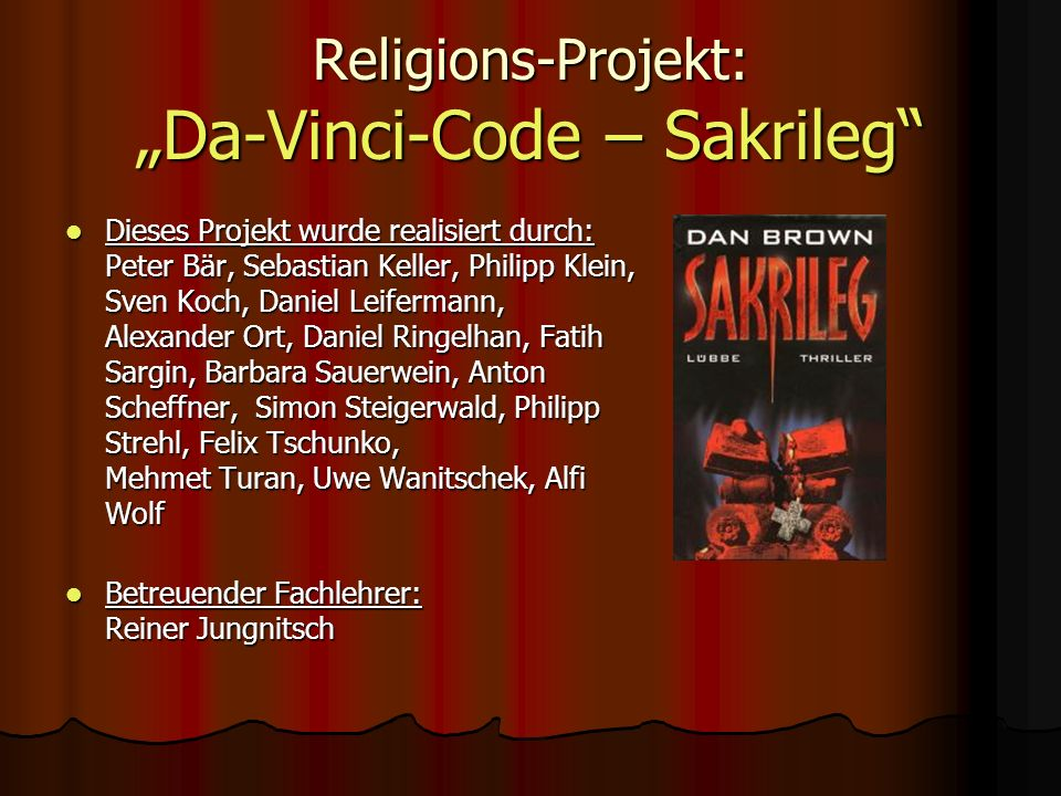 "Religions-Projekt: ""Da-Vinci-Code – Sakrileg"