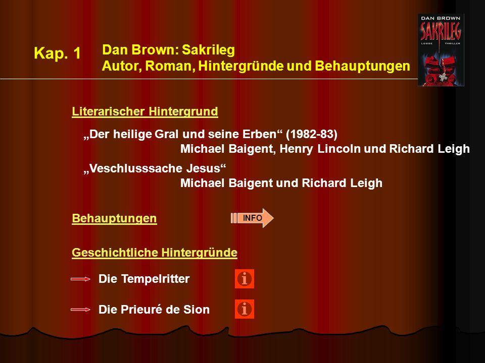 Kap. 1 Dan Brown: Sakrileg Autor, Roman, Hintergründe und Behauptungen