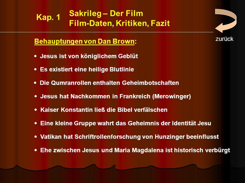 Film-Daten, Kritiken, Fazit Kap. 1