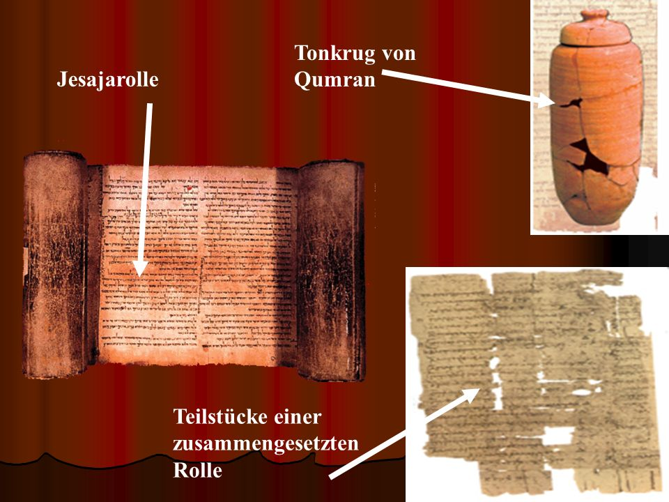 Tonkrug von Qumran Jesajarolle Teilstücke einer zusammengesetzten Rolle