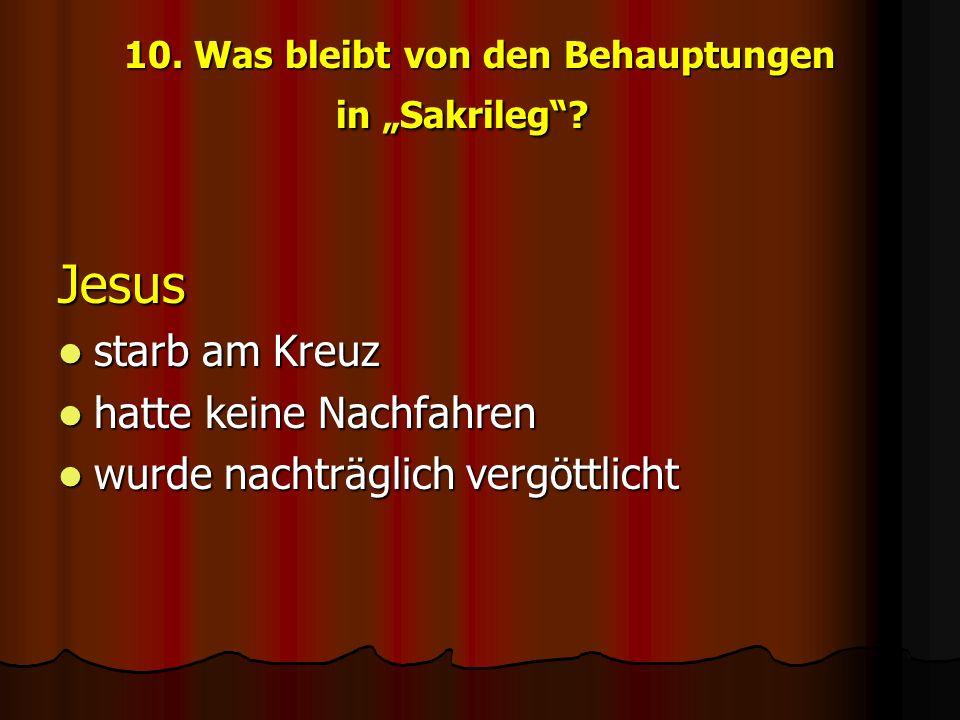 """10. Was bleibt von den Behauptungen in """"Sakrileg"""
