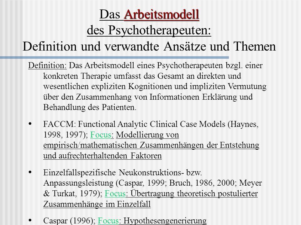 Das Arbeitsmodell des Psychotherapeuten: Definition und verwandte Ansätze und Themen