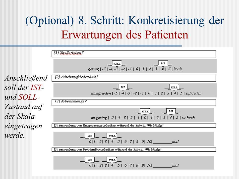 (Optional) 8. Schritt: Konkretisierung der Erwartungen des Patienten