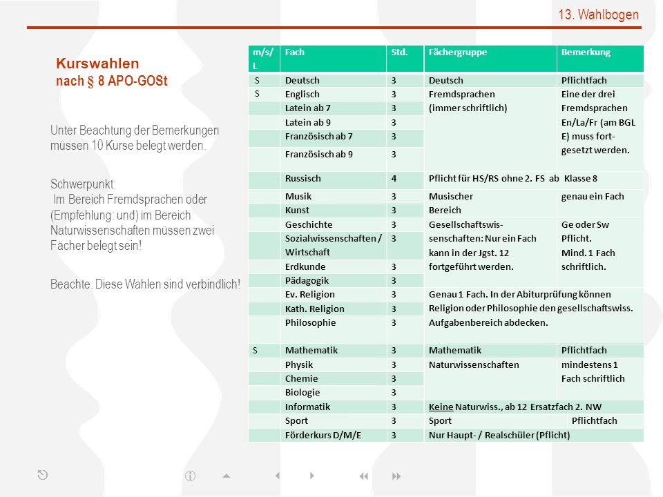 13. Wahlbogen Kurswahlen nach § 8 APO-GOSt