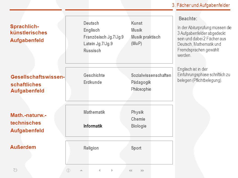 3. Fächer und Aufgabenfelder