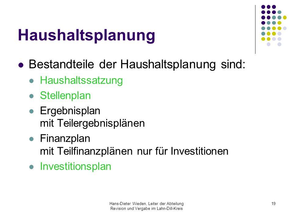 Haushaltsplanung Bestandteile der Haushaltsplanung sind: