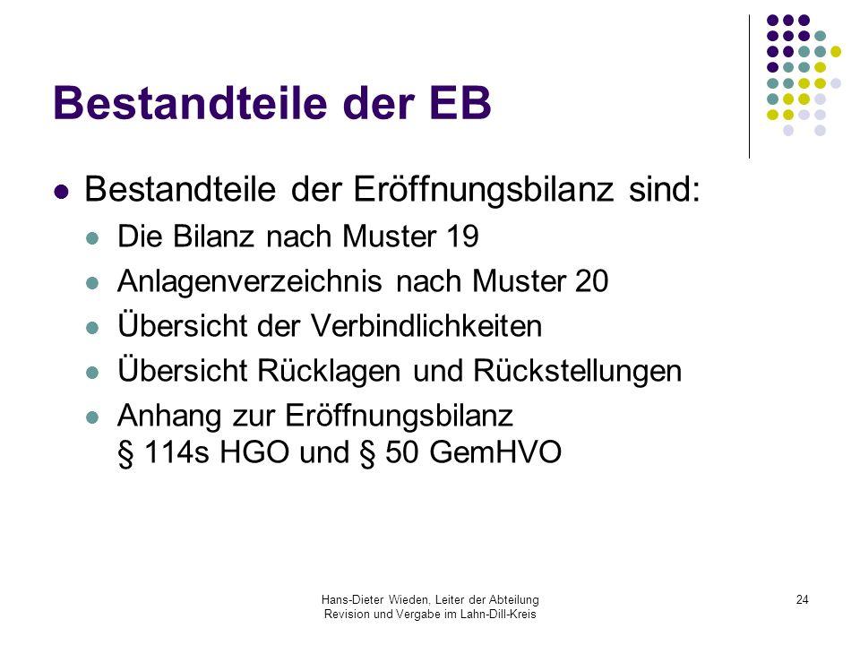 Bestandteile der EB Bestandteile der Eröffnungsbilanz sind: