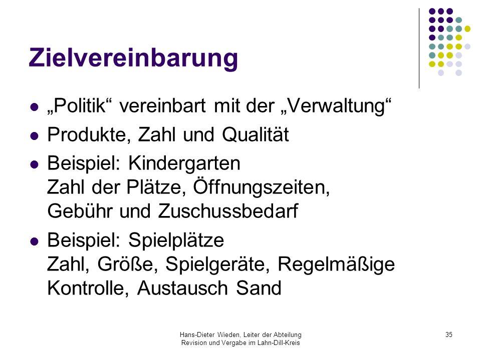 """Zielvereinbarung """"Politik vereinbart mit der """"Verwaltung"""