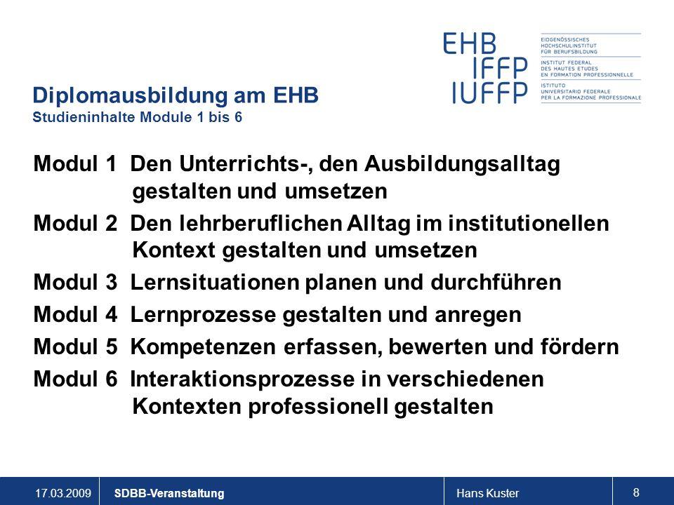 Diplomausbildung am EHB Studieninhalte Module 1 bis 6