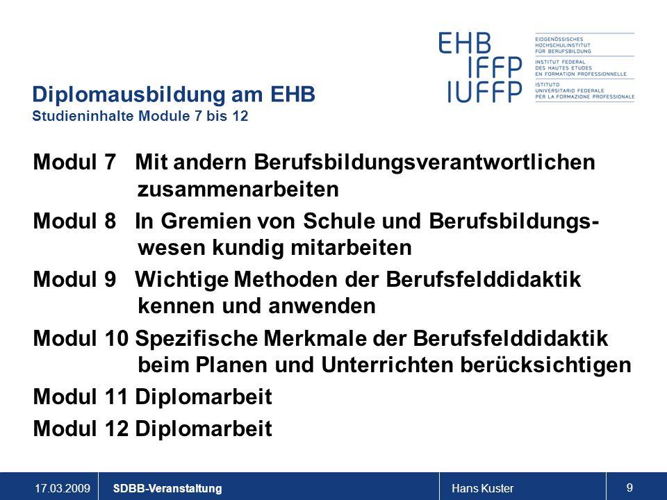 Diplomausbildung am EHB Studieninhalte Module 7 bis 12