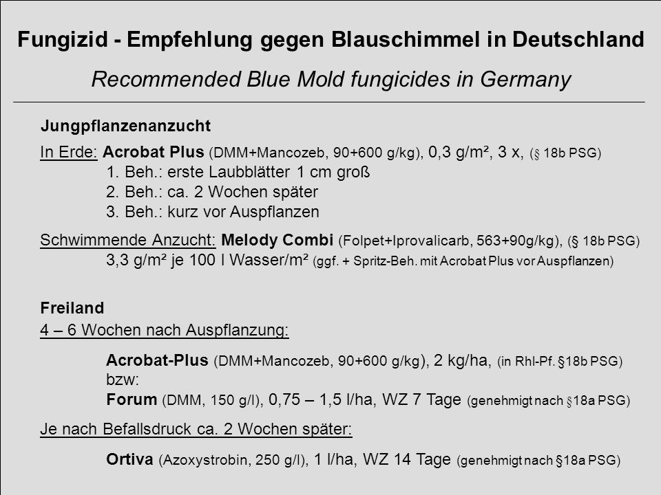 Fungizid - Empfehlung gegen Blauschimmel in Deutschland