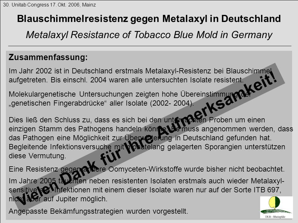 Blauschimmelresistenz gegen Metalaxyl in Deutschland