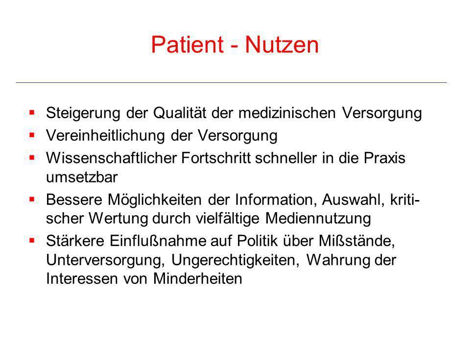 Patient - Nutzen Steigerung der Qualität der medizinischen Versorgung