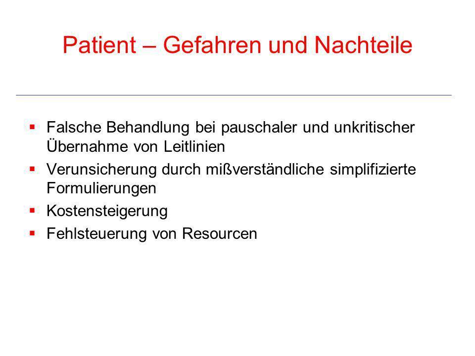Patient – Gefahren und Nachteile