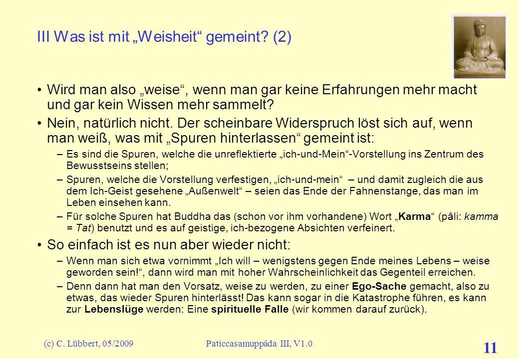 """III Was ist mit """"Weisheit gemeint (2)"""