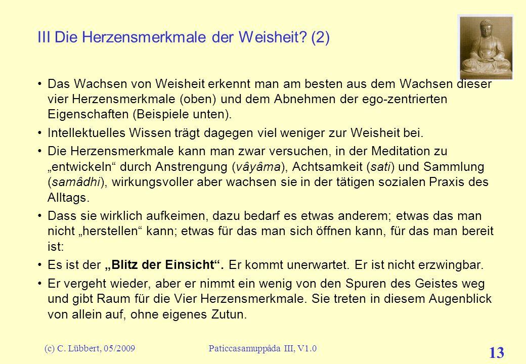 III Die Herzensmerkmale der Weisheit (2)