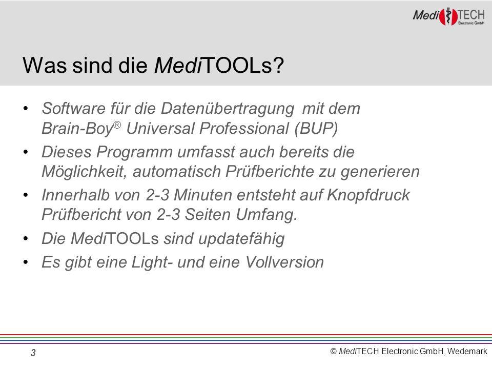 Was sind die MediTOOLs Software für die Datenübertragung mit dem Brain-Boy® Universal Professional (BUP)