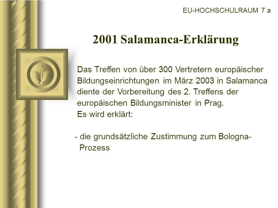 EU-HOCHSCHULRAUM 7 a 2001 Salamanca-Erklärung.