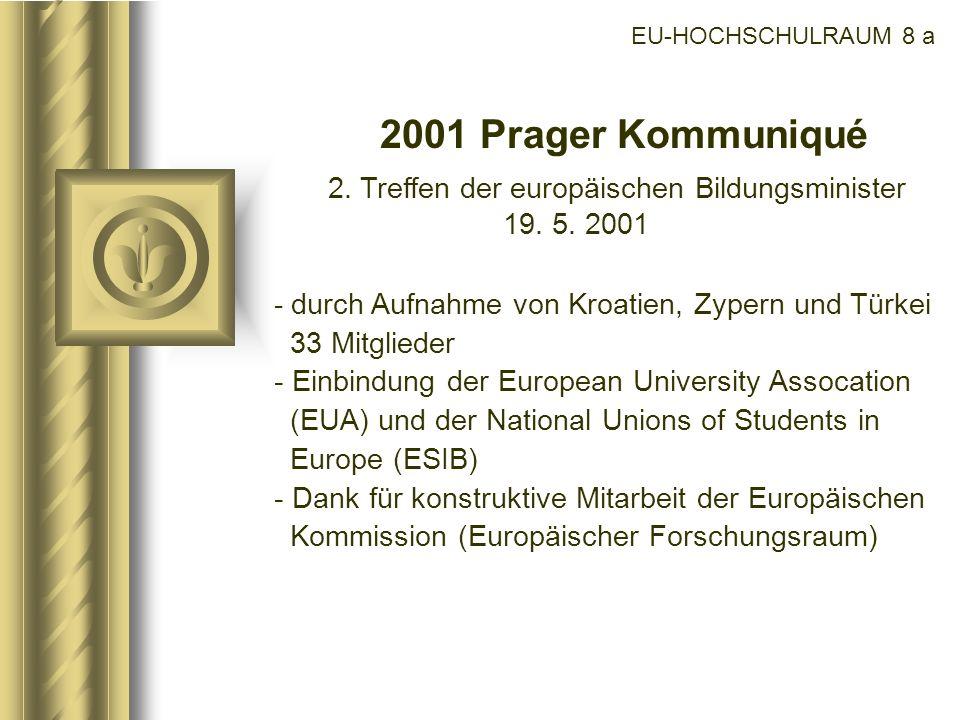 2. Treffen der europäischen Bildungsminister 19. 5. 2001