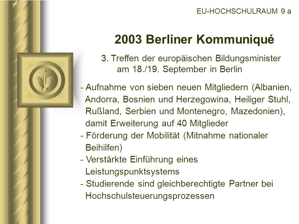 EU-HOCHSCHULRAUM 9 a2003 Berliner Kommuniqué. 3. Treffen der europäischen Bildungsminister am 18./19. September in Berlin.