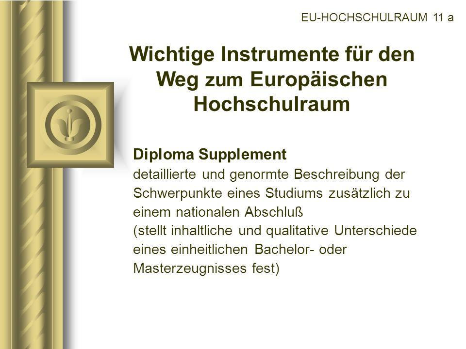 Wichtige Instrumente für den Weg zum Europäischen Hochschulraum
