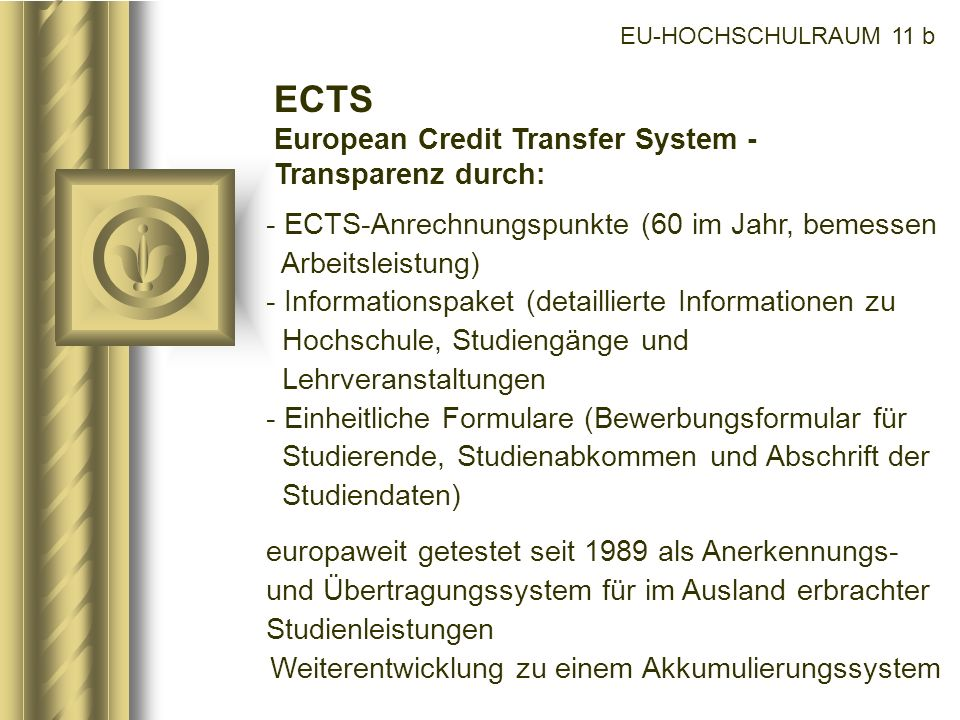 ECTS European Credit Transfer System - Transparenz durch: