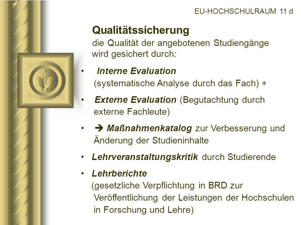 EU-HOCHSCHULRAUM 11 dQualitätssicherung die Qualität der angebotenen Studiengänge wird gesichert durch: