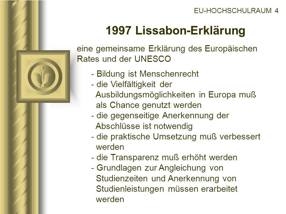 EU-HOCHSCHULRAUM 4 1997 Lissabon-Erklärung. eine gemeinsame Erklärung des Europäischen Rates und der UNESCO.