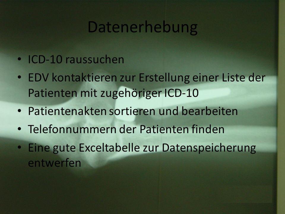 Datenerhebung ICD-10 raussuchen