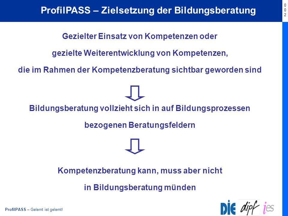ProfilPASS – Zielsetzung der Bildungsberatung