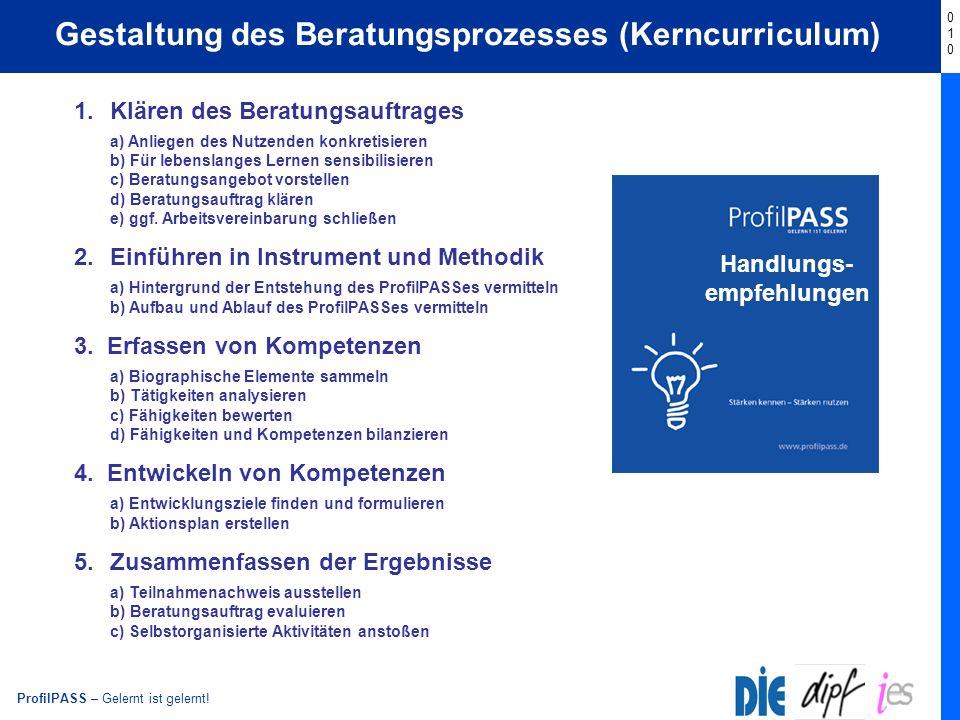 Gestaltung des Beratungsprozesses (Kerncurriculum)