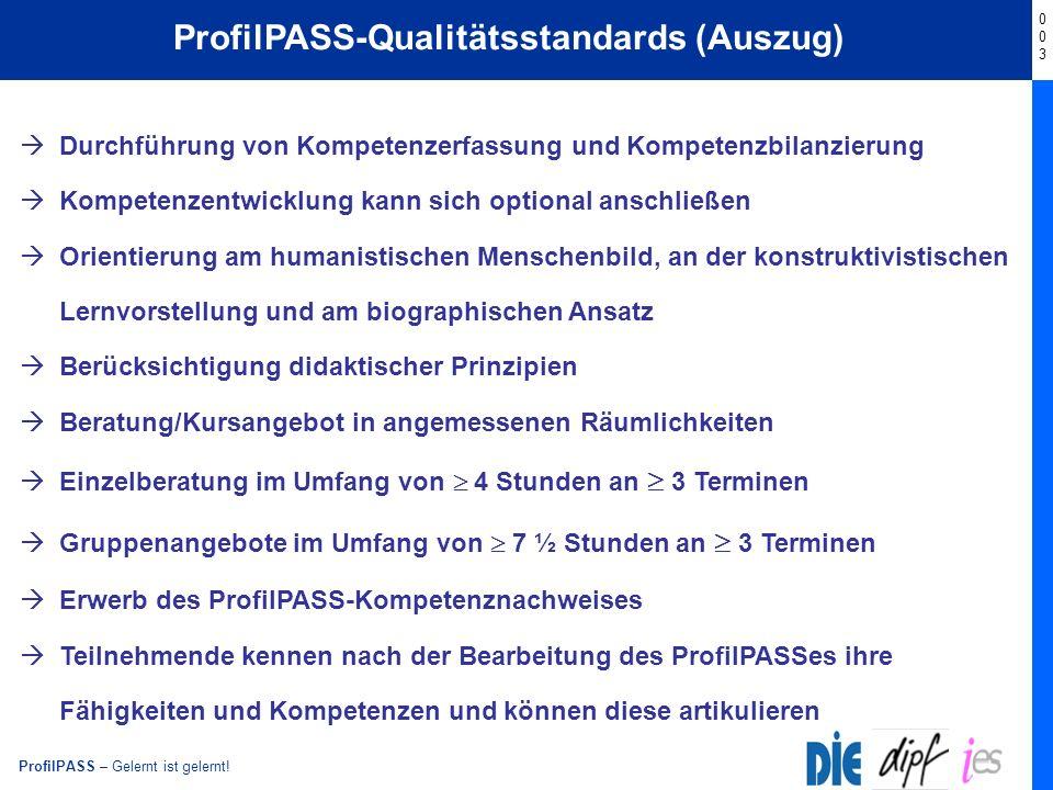 ProfilPASS-Qualitätsstandards (Auszug)