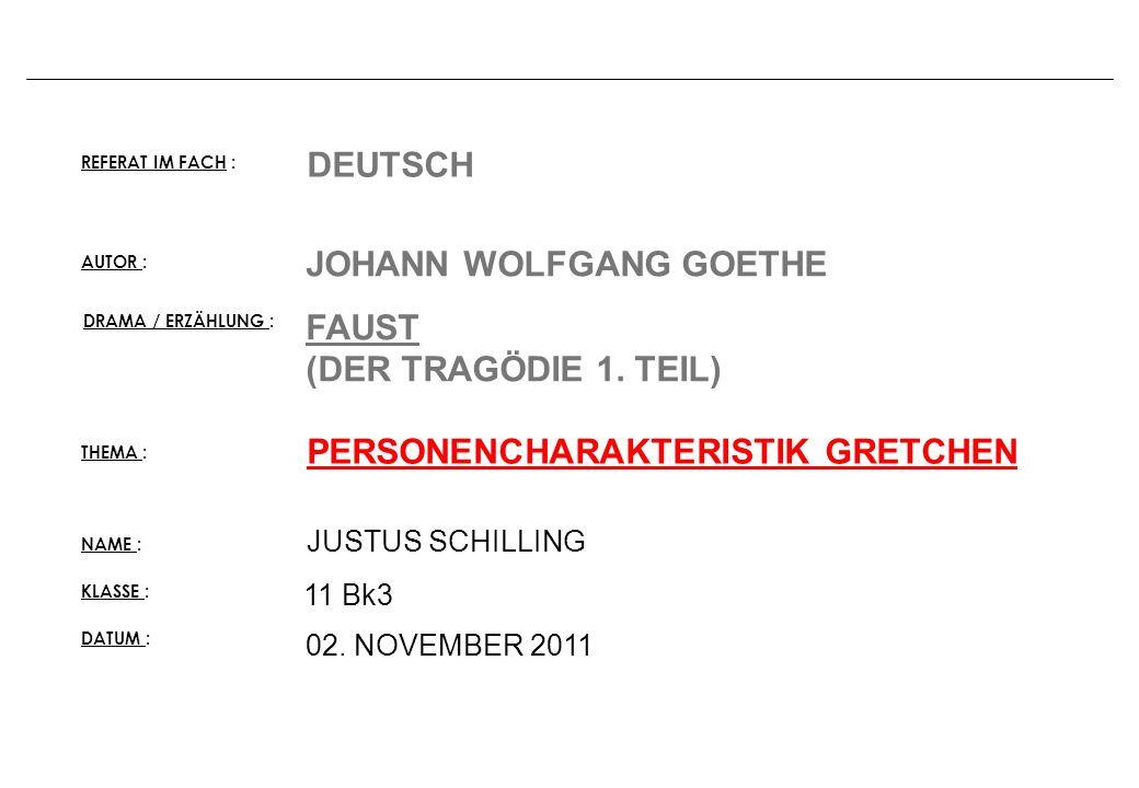 JOHANN WOLFGANG GOETHE FAUST (DER TRAGÖDIE 1. TEIL)