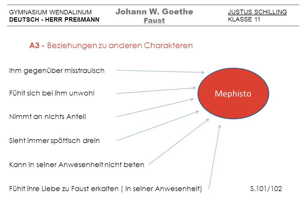 Mephisto Johann W. Goethe A3 - Beziehungen zu anderen Charakteren