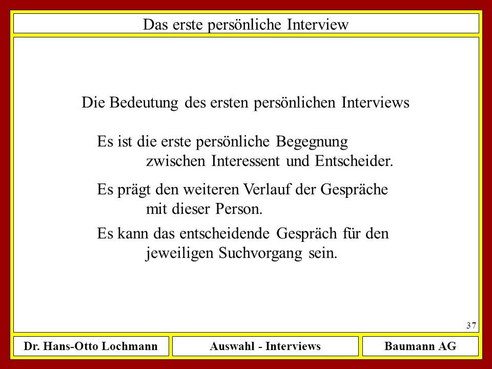 Das erste persönliche Interview