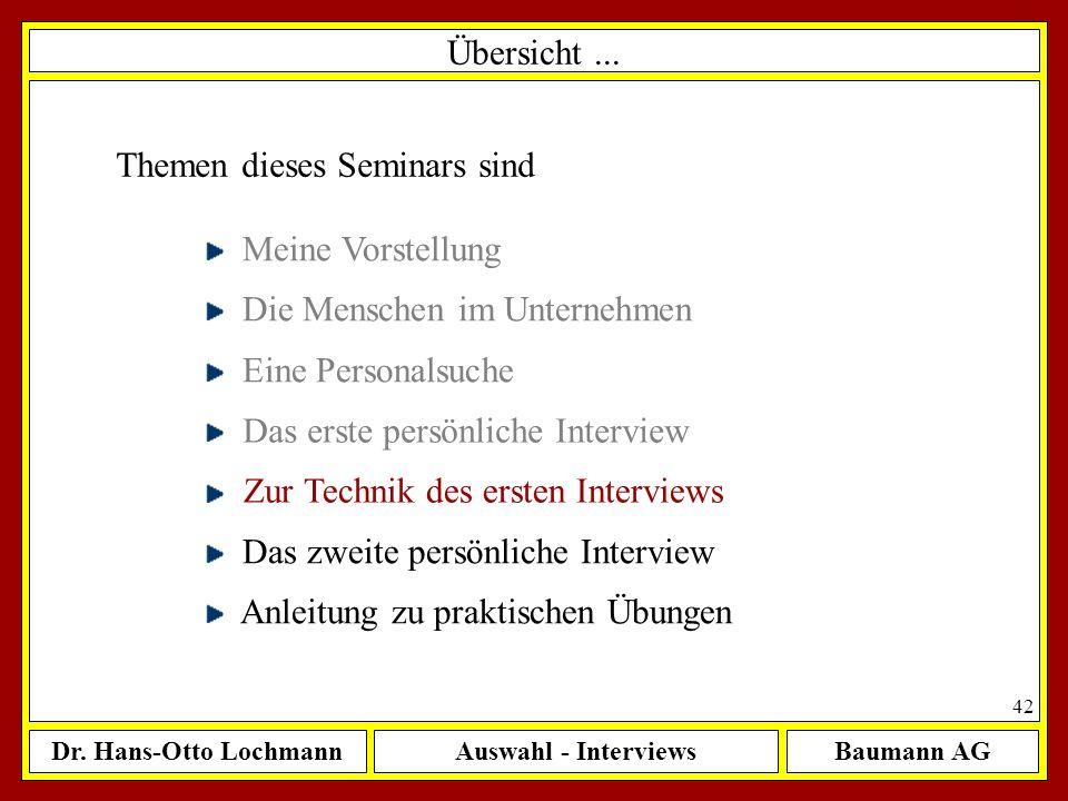 Übersicht ... Themen dieses Seminars sind. Meine Vorstellung. Die Menschen im Unternehmen. Eine Personalsuche.