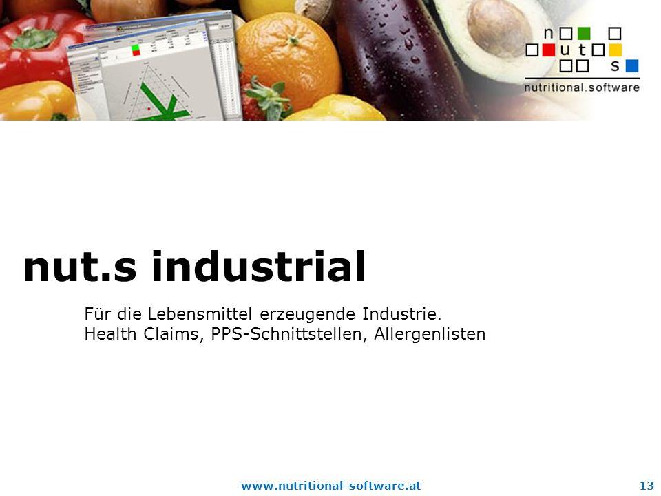 nut.s industrial Für die Lebensmittel erzeugende Industrie.