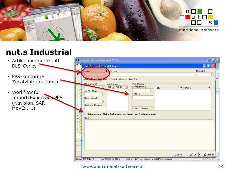 nut.s Industrial Artikelnummern statt BLS-Codes