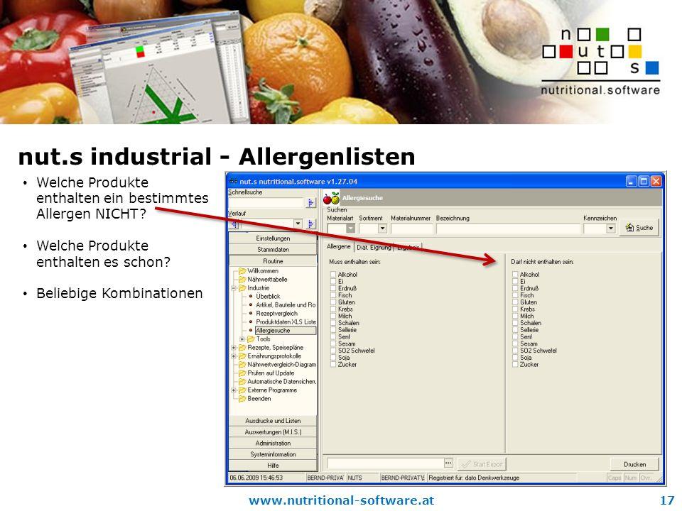 nut.s industrial - Allergenlisten