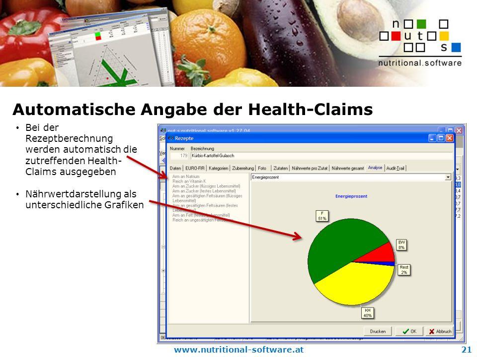 Automatische Angabe der Health-Claims