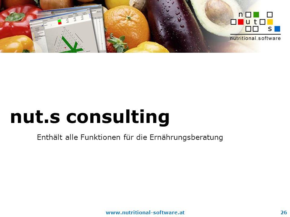 nut.s consulting Enthält alle Funktionen für die Ernährungsberatung