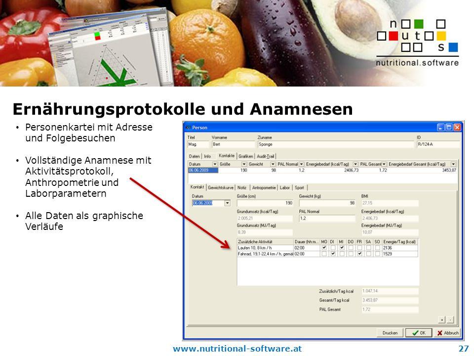 Ernährungsprotokolle und Anamnesen
