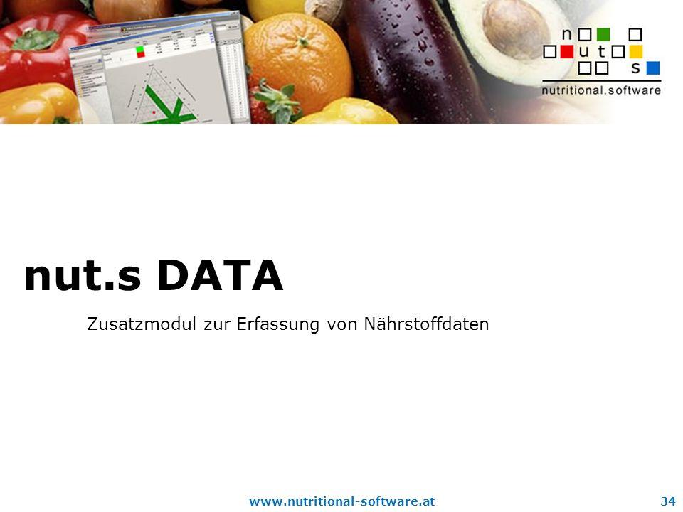 nut.s DATA Zusatzmodul zur Erfassung von Nährstoffdaten