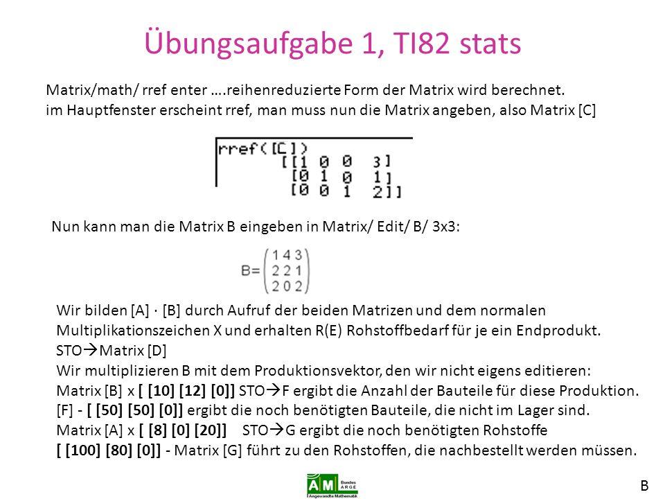 Übungsaufgabe 1, TI82 stats