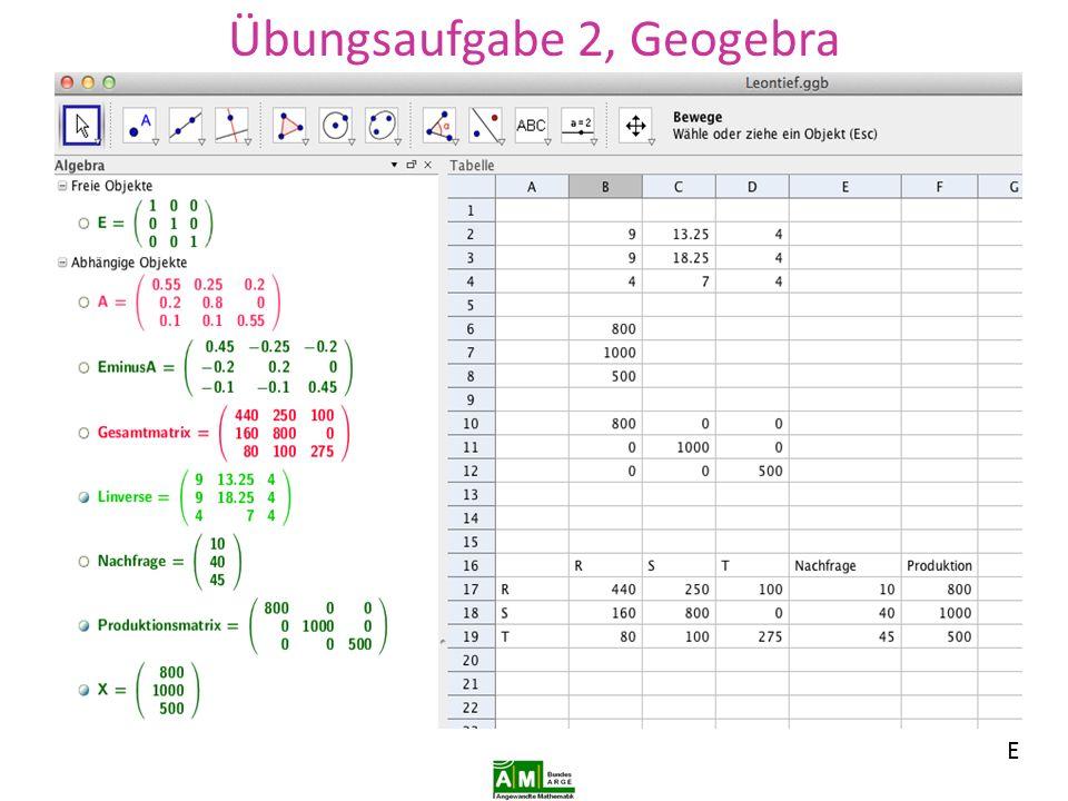 Übungsaufgabe 2, Geogebra