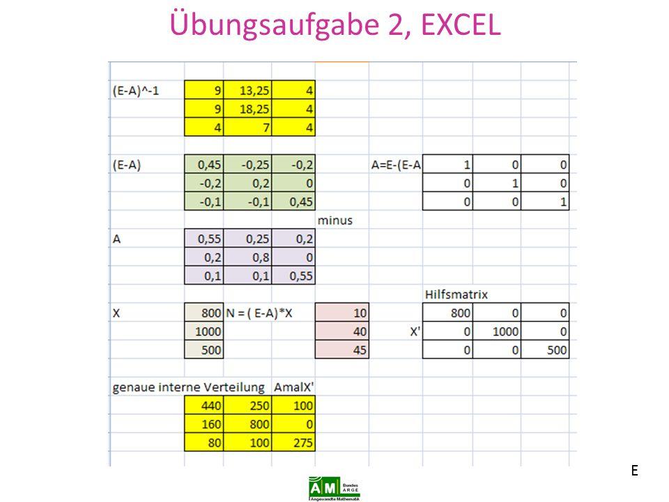Übungsaufgabe 2, EXCEL E