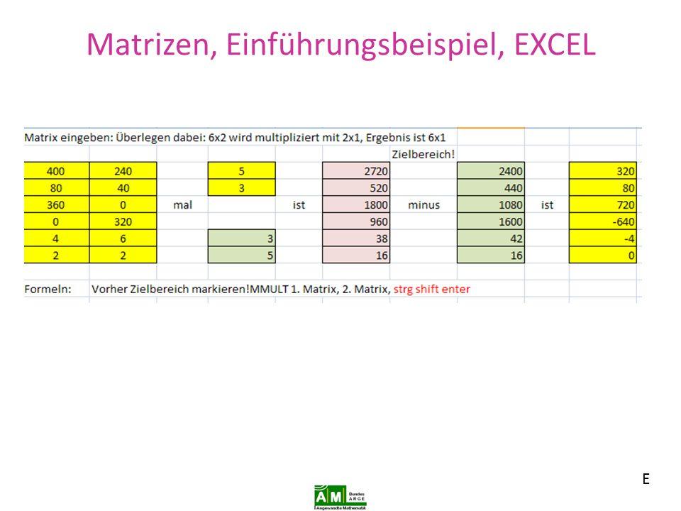 Matrizen, Einführungsbeispiel, EXCEL