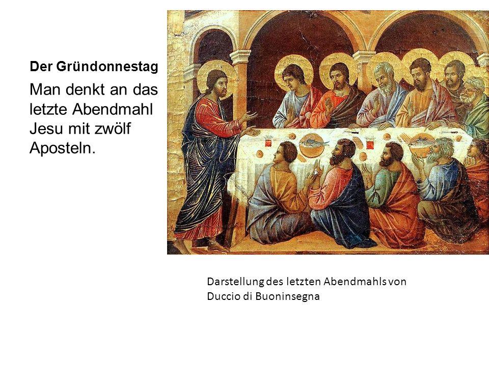 Man denkt an das letzte Abendmahl Jesu mit zwölf Aposteln.