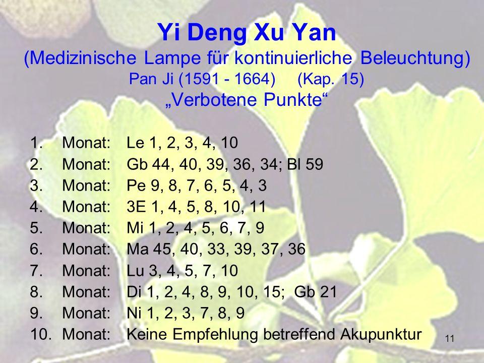 "Yi Deng Xu Yan (Medizinische Lampe für kontinuierliche Beleuchtung) Pan Ji (1591 - 1664) (Kap. 15) ""Verbotene Punkte"