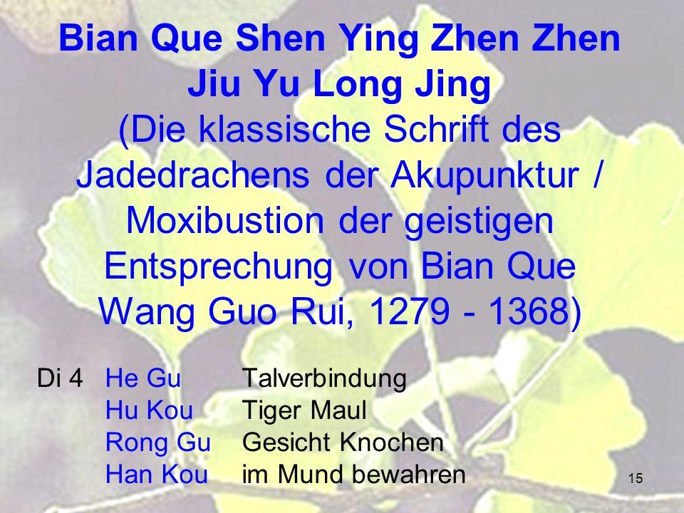 Bian Que Shen Ying Zhen Zhen Jiu Yu Long Jing (Die klassische Schrift des Jadedrachens der Akupunktur / Moxibustion der geistigen Entsprechung von Bian Que Wang Guo Rui, 1279 - 1368)